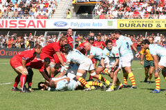 Top 14 rugby match USAP vs Stade Toulousain Stock Photo