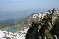 At the top. View from the top of a french summit in the alps Royalty Free Stock Photography