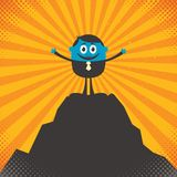 On Top. Conceptual illustration for success, depicting character on top of mountain Royalty Free Stock Photo