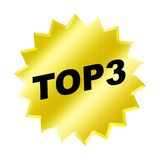 Top 3 Sign. Yellow top 3 sign - web button - internet design vector illustration