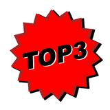 Top 3 Sign. Red top 3 sign - web button - internet design royalty free illustration