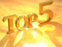 Top 5 Gold Text. 3D Top 5 Gold Text on yellow background Stock Photography