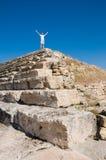 At the top. Young man at the top of ancient ruins royalty free stock photos