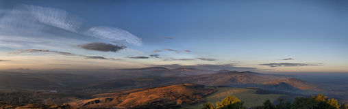 On the top 6. Sunrise on he top. High density range image. Panorama Stock Photo