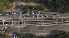 Top aéreo abajo de la vista del atasco Ciudad de Sao Paulo, el Brasil metrajes