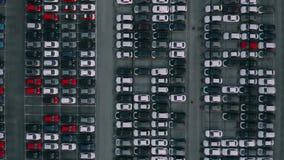 Top aéreo abajo tirado almacenamiento de los coches de la fábrica del coche de un nuevo stock de ilustración