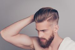 Top above side profile half-turned photo of handsome serious con. Centrated neat groomed confident stylish modern fashionable guy boasting showing his healthy stock images