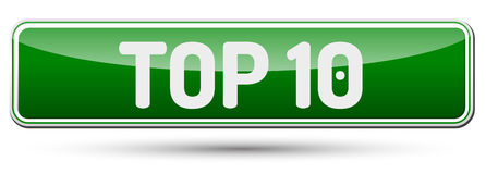 TOP 10 - Abstract beautiful button with text. Stock Photo
