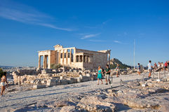 The top of the Acropolis of Athens on July 1, 2013 in Greece. Stock Photo