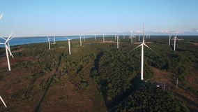 Top aerial drone view of the wind turbines `Nordex` at the coast of Baltic Sea on Pakri Peninsula. stock video