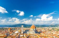 Top aerial panoramic view of Florence city with Duomo Cattedrale di Santa Maria del Fiore cathedral royalty free stock photography
