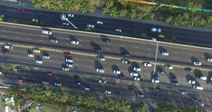Top aerial scene of highway road with many cars in city. Bangkok , Thailand stock footage