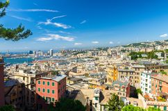 Top aerial scenic panoramic view from above of old historical centre of european city Genoa stock photos