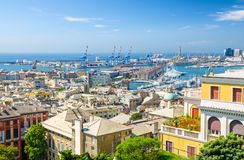 Top aerial scenic panoramic view from above of old historical centre quarter districts of european city Genoa. Genova, port and harbor of Ligurian and stock image