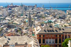 Top aerial scenic panoramic view from above of old historical centre quarter districts of european city Genoa. Genova, port and harbor of Ligurian and stock photography