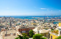 Top aerial scenic panoramic view from above of old historical centre quarter districts of european city Genoa. Genova, port and harbor of Ligurian and royalty free stock photos