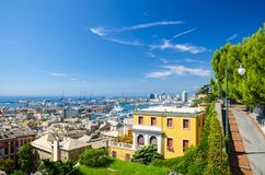 Top aerial scenic panoramic view of european city Genoa. Top aerial scenic panoramic view from above of old historical centre quarter districts of european city royalty free stock images