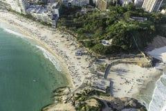 Top aerial view of Arpoador Peninsula Beach in Rio de Janeiro Royalty Free Stock Photography
