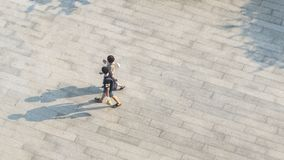 Top aerial view blur people walk on across pedestrian concrete stock photo