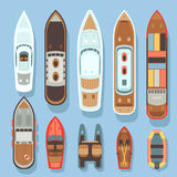 Top aerial view boat and ocean ships vector set. Sea boat and transport for travel on water illustration vector illustration