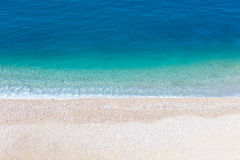 Top aerial view of empty beauty beach in Italy, Europe stock photography
