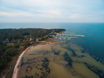 Top aerial view of the harbour stock photography
