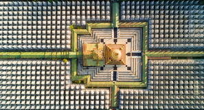 Top aerial view of Kuthodaw Pagoda in Myanmar Stock Photography