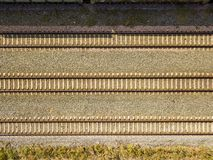 Top aerial view of some railraod tracks texture isolated f royalty free stock images