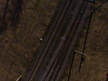 Top aerial view of some railraod tracks -Texture isolated shot of railway royalty free stock photo