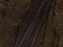 Top aerial view of some railraod tracks -Texture isolated shot of railway stock photos