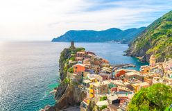 Top aerial view of Vernazza typical village with colorful buildings houses, Castello Doria castle on rock cliff and Genoa Gulf, Li stock photos