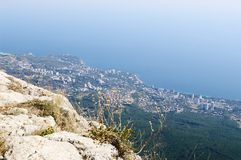 On top of Ai-Petri plateau, view of Black sea coast, Crimea. Royalty Free Stock Images
