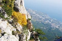 On top of Ai-Petri plateau, view of  coast, Crimea. Stock Photo