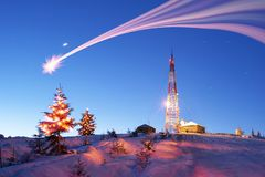 Holiday Illumination in the mountains royalty free stock images
