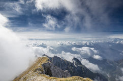 On the top of the alps. A view from the top of a mountain in the italian alps Stock Photo