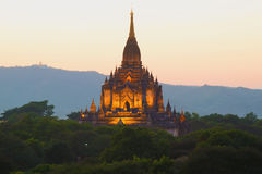 Top of the ancient Buddhist temple of Gawdaw Palin in evening twilight. Bagan. Myanmar Stock Photography