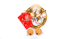 Top angle view on Chinese tea set with envelope bearing the word double happiness Stock Image