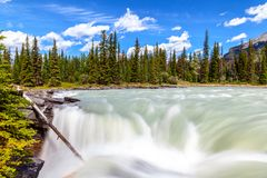 At the Top of Athabasca Falls in Jasper National Park. View at the top of Athabasca Falls in Jasper National Park showing rushing waters of the Class 5 waterfall royalty free stock image