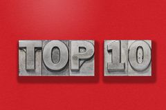 Top 10 auf Rot Stockfoto