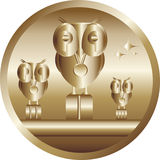 Top - award winner. The first prize - an award winner. Golden owl, cartoon Royalty Free Stock Photos