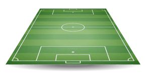 Top and back view of football field. Textured soccer field in pe. Rspective. Green playground background. Vector illustration. web icon Royalty Free Stock Photography