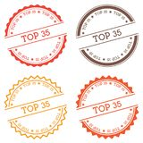 Top 35 badge isolated on white background. Flat style round label with text. Circular emblem vector illustration Stock Photography