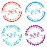 Top 65 badge isolated on white background. Flat style round label with text. Circular emblem vector illustration Stock Images