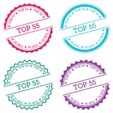 Top 55 badge isolated on white background. Flat style round label with text. Circular emblem vector illustration stock illustration