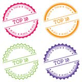 Top 10 badge isolated on white background. Flat style round label with text. Circular emblem vector illustration Royalty Free Stock Photo