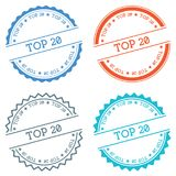 Top 20 badge isolated on white background. Flat style round label with text. Circular emblem vector illustration Stock Photos