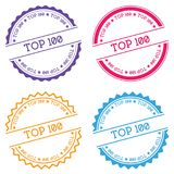 Top 100 badge isolated on white background. Flat style round label with text. Circular emblem vector illustration Vector Illustration