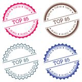 Top 85 badge isolated on white background. Flat style round label with text. Circular emblem vector illustration Royalty Free Stock Photo