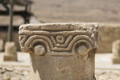 Top of the Baptistery Column at the excavations of the Nabatean city of Mamshit. Israel, 1st century BC Stock Photo