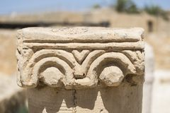 Top of the Baptistery Column at the excavations of the Nabatean city of Mamshit. Israel, 1st century BC Royalty Free Stock Images